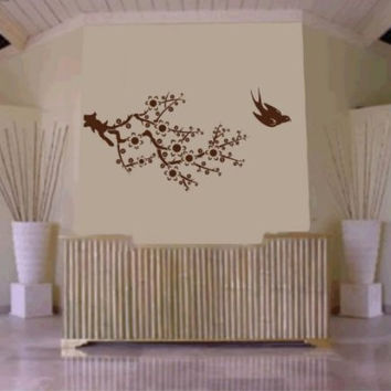 Cherry Blossom Branch with Bird Decal Sticker Wall Mural Art Graphic