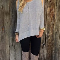 Cut Out Shoulder Woolen Shirt