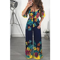 Women Jumpsuit Off Shoulder Self Tie Yellow Jumpsuits Ruffle Half Sleeve Elegant Jumpsuit