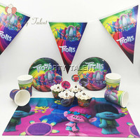 50pcs for 12 kids Trolls Birthday Party Tableware Set, 12plate+12cup+1tablecover+1banner+12wrapper+12topper