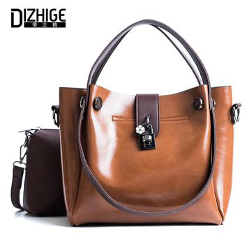 DIZHIGE 2 Set Women Bag Ladies Shoulder Bags Purses And Handbags High Quality PU Leather Tote Bag Flower Solid Brand Designer
