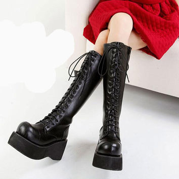 Wedge Harajuku Knee High Vintage Creepers Tall Horse Riding Women Boots Platform Genuine Leather Bandage Big Head Rub Skin Color