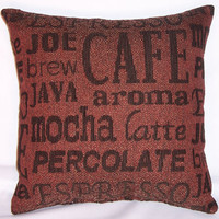 """Coffee Lovers Throw Pillow - Brown Barrista Script Cover and Insert 17"""" Square Cushion Java Mocha Espresso Brew Latte"""