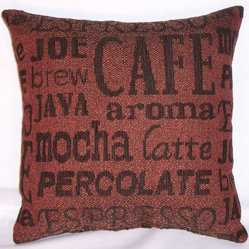 "Coffee Lovers Throw Pillow - Brown Barrista Script Cover and Insert 17"" Square Cushion Java Mocha Espresso Brew Latte"