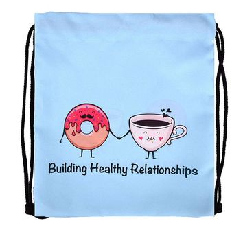 Building Healthy Relationships Donut Coffee Drawstring Bags Cinch String Backpack