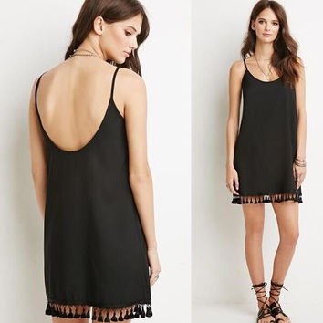 Black Strap Straight Dress with Tassel