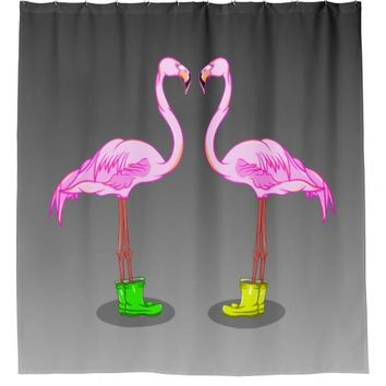 Fun Cartoon Pink Flamingos Wearing Winter Boots Shower Curtain