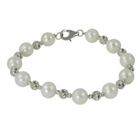 Bracelet with 8-8.5mm Pearls & Diamond-Cut Beads in Sterling Silver