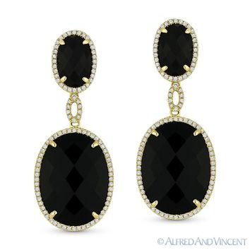 Jet Black Onyx & 0.44ct Round Cut Diamond 14k Yellow Gold Dangling Drop Earrings