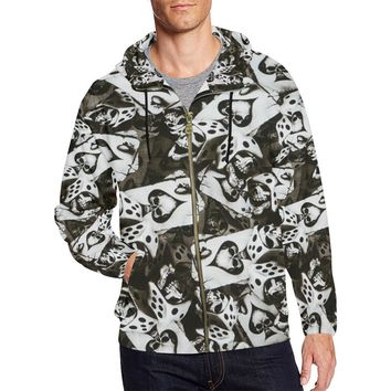 Dice and Spades Skulls Men's All Over Print Full Zip Hoodie