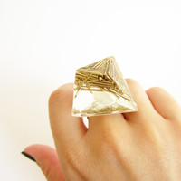 ROCK resin RING Gold brass NAILS diamond. Sterling silver 925. Luxury styled to rock ring