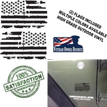 (2) US Flag Vinyl Decals fits Jeep wrangler Distressed Grunge American USA hood