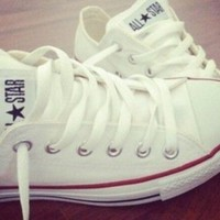 All white allstar converse