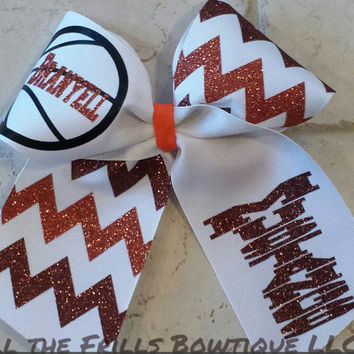 Personalized Basketball big hair bow - Glitter - Chevron Custom hairbow- White Ribbon