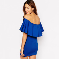 Blue Flounced Collar Off-shoulder Mini Dress