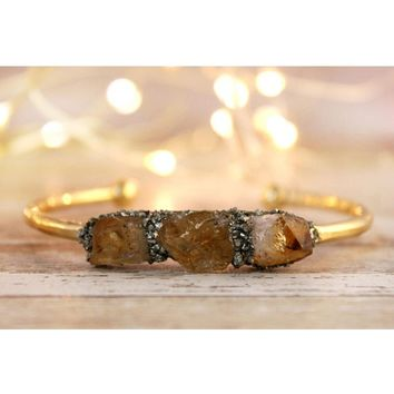 Raw Citrine November Birthstone Gemstone Bracelet