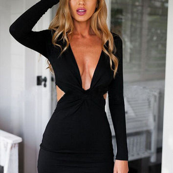 Summer Prom Dress Club Sexy Knit Slim Dress One Piece Dress [4919731460]