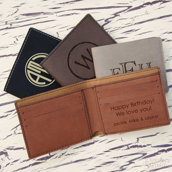 Personalized Wallet Engraved with Choice of Monogram Design & Font from Our Selection (Each)