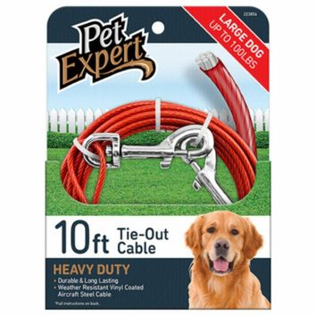 Pet Expert® PE223854 Heavy Weight Steel Aircraft Cable Dog Tie Out, 10'