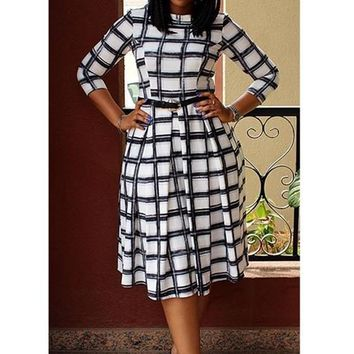 White Black Plaid Round Neck Pleated Puffy Cute Homecoming Party Midi Dress