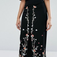 River Island Embroidered Midi Skirt at asos.com
