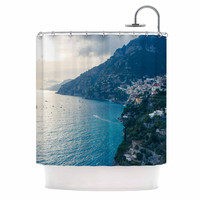 "Violet Hudson ""Amalfi Edge"" Blue Coastal Shower Curtain"