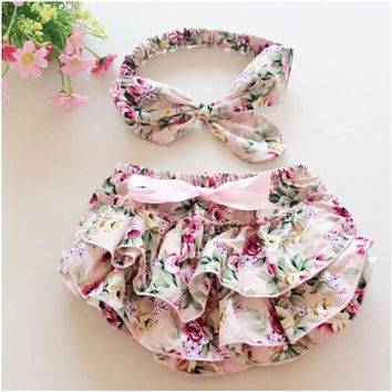 Floral Baby Bloomer Set,Baby Ruffle Bloomer Headband Set,Newborn ruffle diaper cover,baby photo outfit 1set