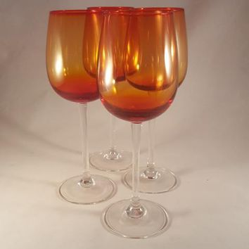 Vintage Amberina Yellow Red Orange Glass Goblets with Clear Stem  S/4