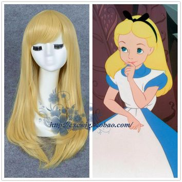 Anime Alice in Wonderland Alice Yellow Gold Wig Straight Long Hair with Net Role Play Halloween