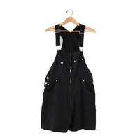 Vintage Black Shorts / Cotton Bib Overalls / Jumper