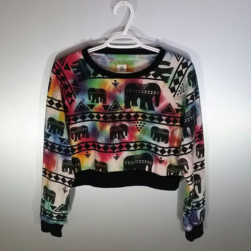 Womens Size Medium Elephant Print Sweatshirt Crop Top Tie Dye Tumblr Fashion California Rainbow Boho Aztec Africa Yoga Festival Outfit