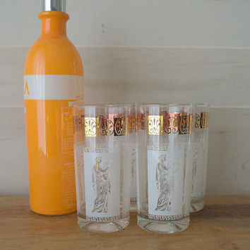 Gold and White Highball Glass Set, Gold Barware, Gold and White Jeannette Glass, Glam Vintage Bar Glasses