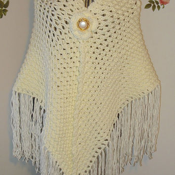 Handmade Crochet Ivory Lace Cover Up Bridal Wedding 3D Shawl / SCARF, All Seasons Crochet Wedding Shawl / Cover Up Bridal Accessories