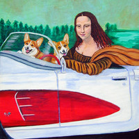 Mona Lisa with  Corgi Flag Garden Size