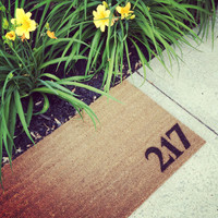 """Welcome Mat Personalized - hand painted With House Number - Doormat - 18x30"""" made from natural coir"""