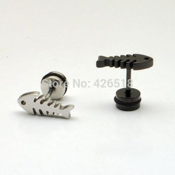 Fish bones Not fade white black titanium steel Punk Hiphop Men Screw Back (pierced) stud earrings