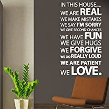 Wall Decal Vinyl Sticker Decals Art Decor Design Sign In This House Rulles Family Love Quote Bedroom Modern Fashion (r211)