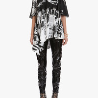 Asymetric silk top with newspaper print | Women's tops | Balmain