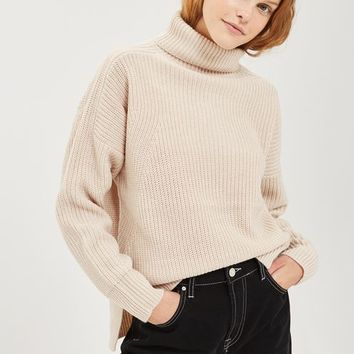 Boxy Rib Roll Neck Jumper - Sweaters & Knits - Clothing