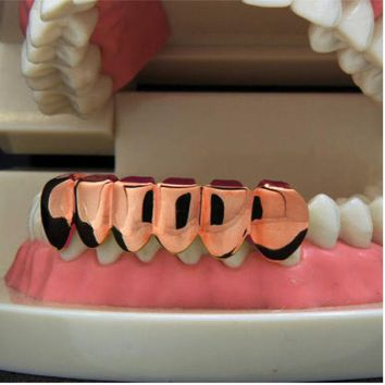 DCCKF4S NEW 1PCS Hip Hop Teeth Grillz Cap Rose Gold Lower Bottom Bloodsucker Teeth Protector For Halloween Christmas Party