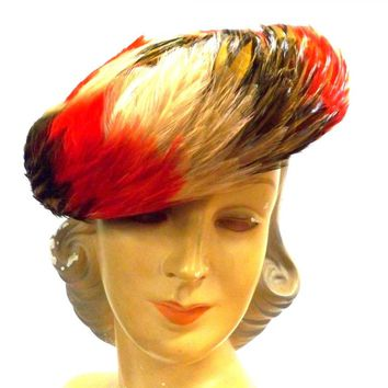 Vintage Feather Hat 1950s Large Bright Red Orange Brown Swirl