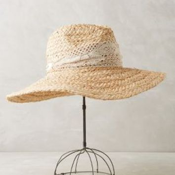Ale by Alessandra Crochet Trim Rancher in Neutral Size: One Size Hats