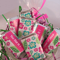 INSTANT DOWNLOAD Luau Graduation Party Decorations Printable Candy Wrappers Hibiscus Hot Pink Turquoise