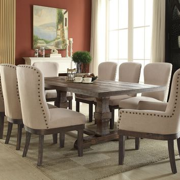 7 pc Landon collection salvage brown distressed finish wood dining table set with nail head trim chairs