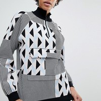 ASOS WHITE Knitted Co-ord Jumper in Geo Print at asos.com