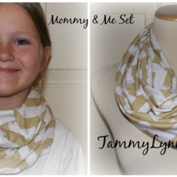 Mommy & Me Tan Khaki Chevron on White READY to SHIP Infinity Scarf Set Jersey Knit Soft Lightweight Accessories