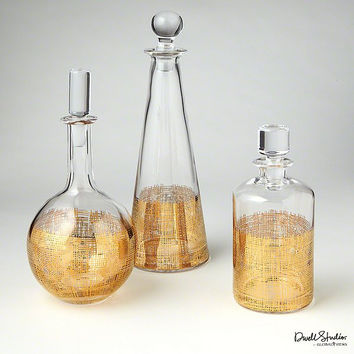 Global Views Crosshatch Cylinder Decanter-Gold - Global Views D6-60022