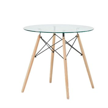 Modern 31.5-inch Round Glass Dining Table with Wood Legs