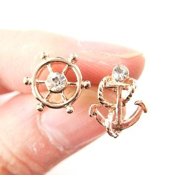 Nautical Themed Anchor and Wheel Shaped Stud Earrings in Rose Gold
