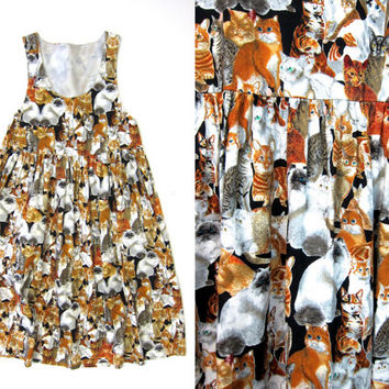 Vintage 80s CAT Print Baby Doll Dress KITTY Jumper Dress 1980s Tabby Cats Persian Cat Sundress Novelty Sun Dress with Pockets Womens XS